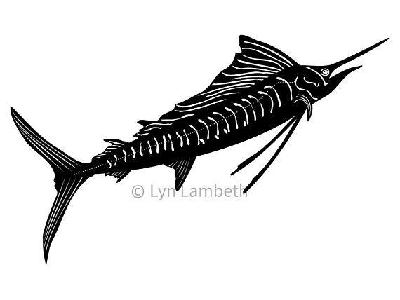 Sailfish clipart, instant dowload digital file, hand drawn black and