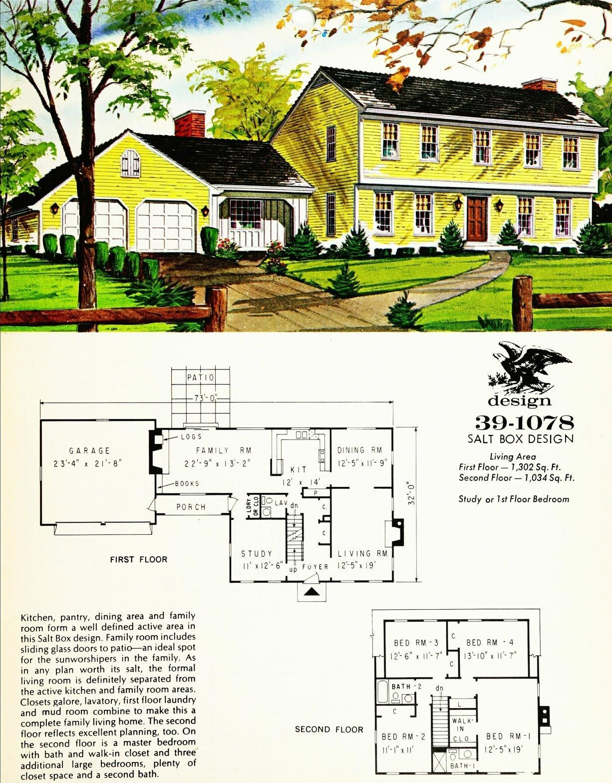 Early American Colonial Home Plans Design No 39 1078 Floor