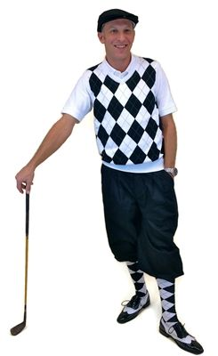 Men's Complete Golf Knickers Outfit with Black Knickers and Cap complemented by a White/Black/Grey Overstitch Sweater Vest and Socks.