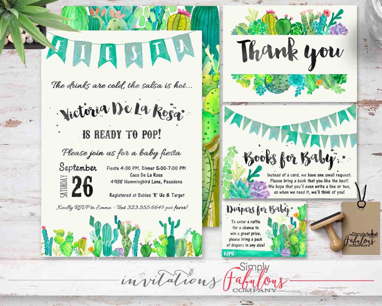 baby shower fiesta watercolor cactus watercolor succulents invitation bundle diaper raffle books for baby thank you card digital file