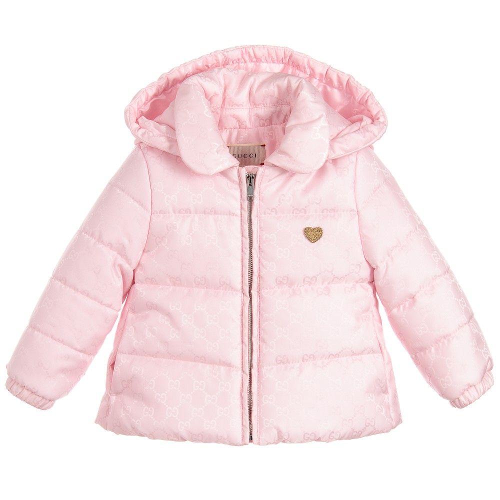 cbb356e2bf1b Gucci Baby Girls Pink Waterproof Hooded Padded Coat at…