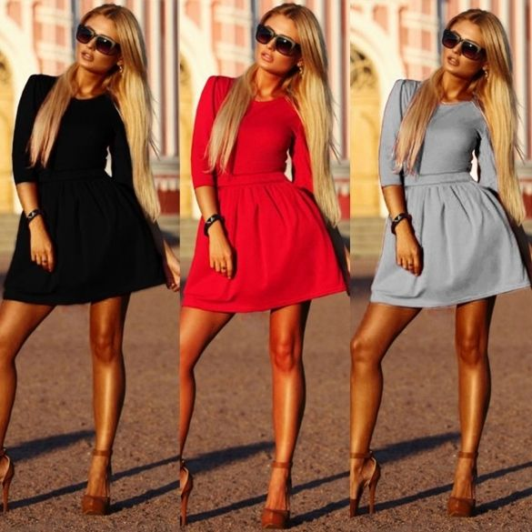 5e6665e77092 Women 3 4 Sleeve Pleated Slim Dress Ladies Evening Party Mini Skater Dress