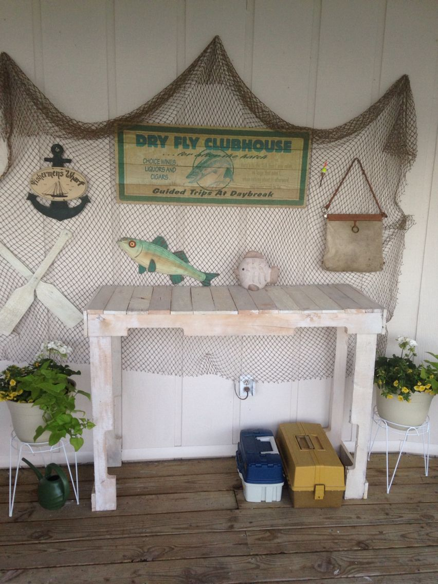 Our Patio Buffet Table Made Out Of 2 Skids. White Washed With Leftover  Paint And