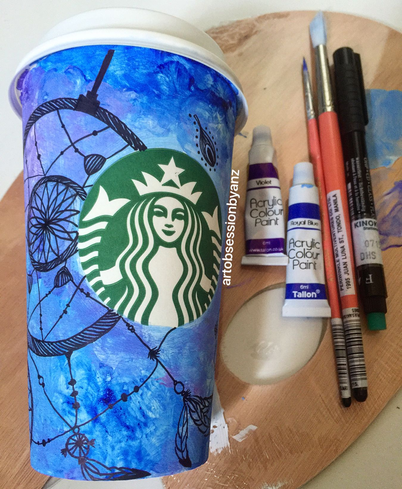 There Are No Rules In Art Just Creativity Sbucks Obsession Cup 08 Blue Dreamcatcher Starbucks Starbuckscoffee Starbucks Art Starbucks Coffee Doodles