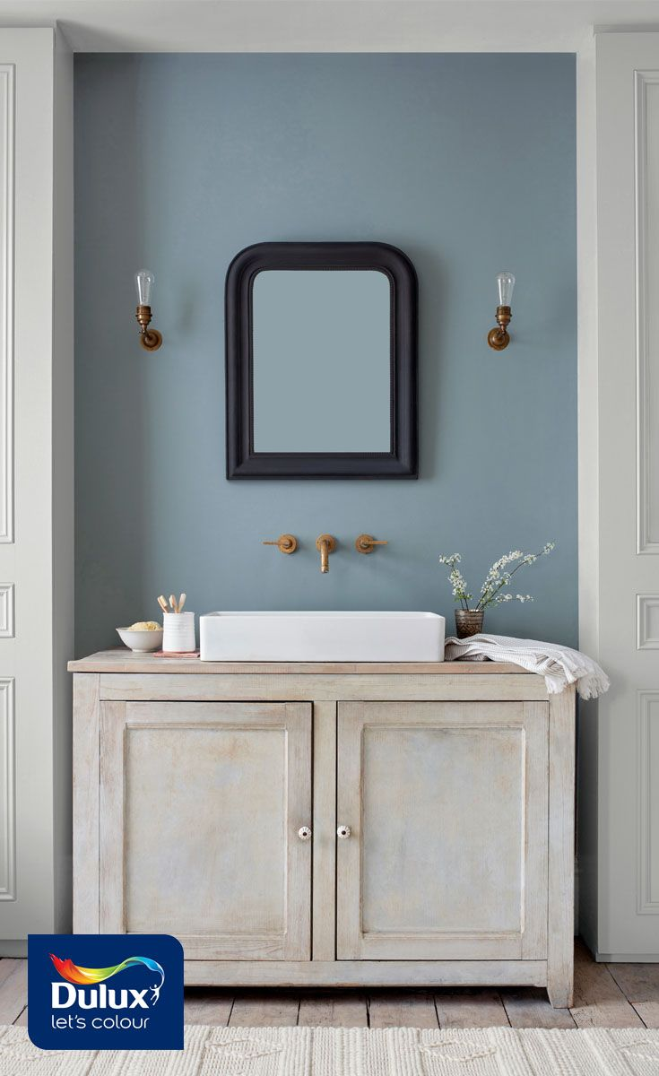 Turn Your Bathroom Into A Soothing Sanctuary With This Grey Blue Shade Denim Drift It Works Perfectl Small Bathroom Colors Bathroom Decor Colors Blue Bathroom