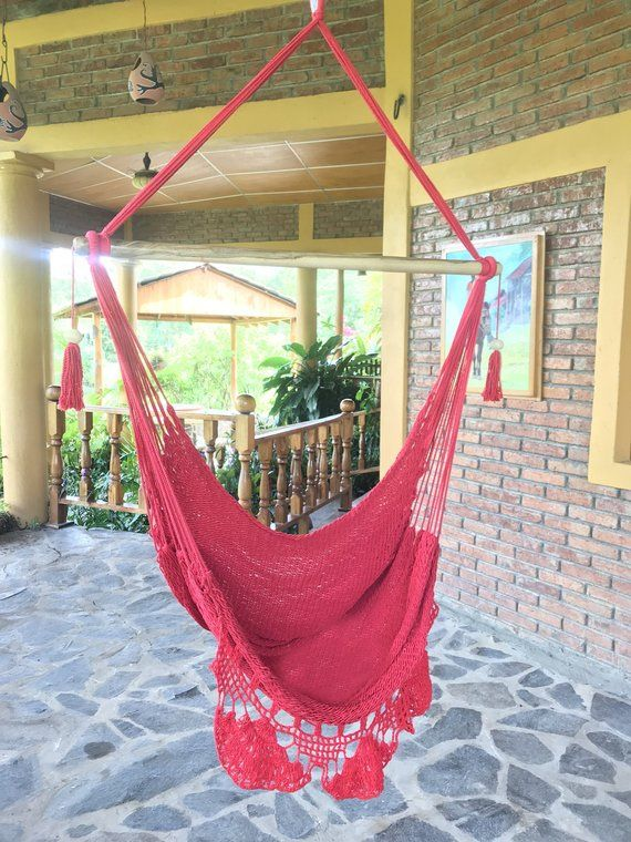 Wondrous Natural Red Hammock Chair With Fringe Baby Swing Hammock Bralicious Painted Fabric Chair Ideas Braliciousco