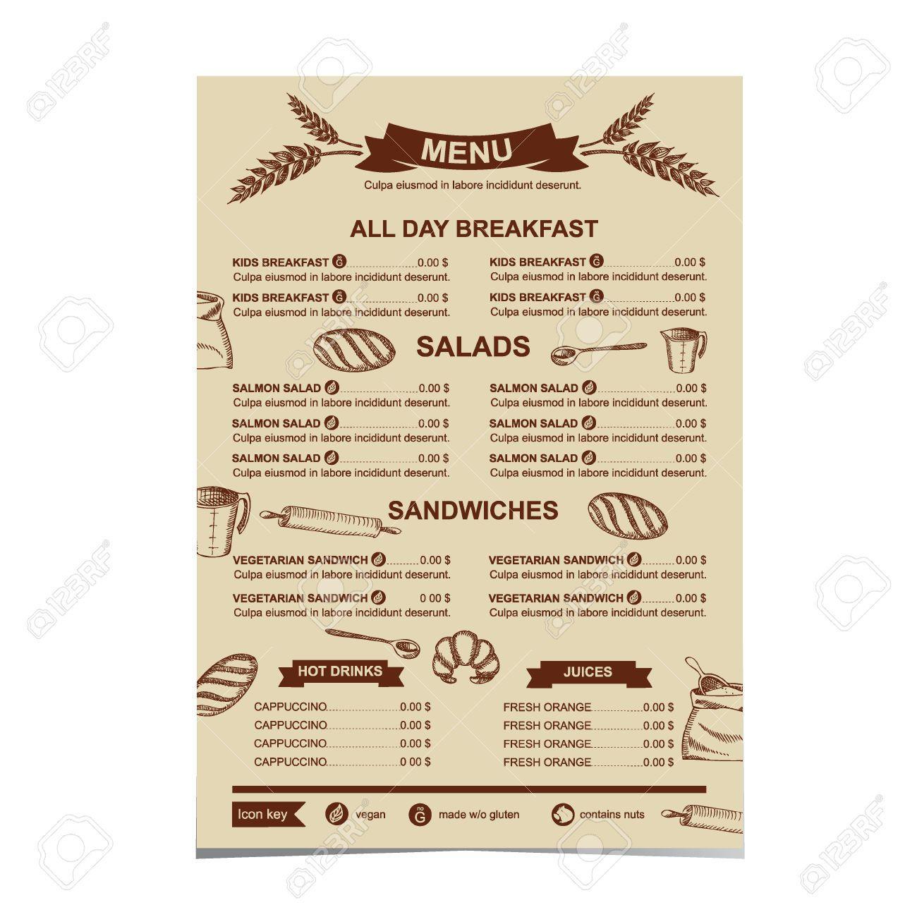 RestaurantMenuBakeryAndCafeTemplateDesignVector