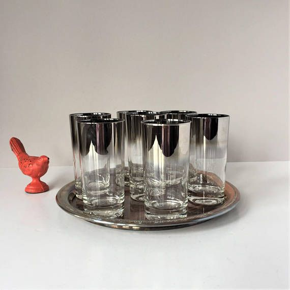Silver Fade Highball Glasses Vintage Barware Set Of 7 Mid