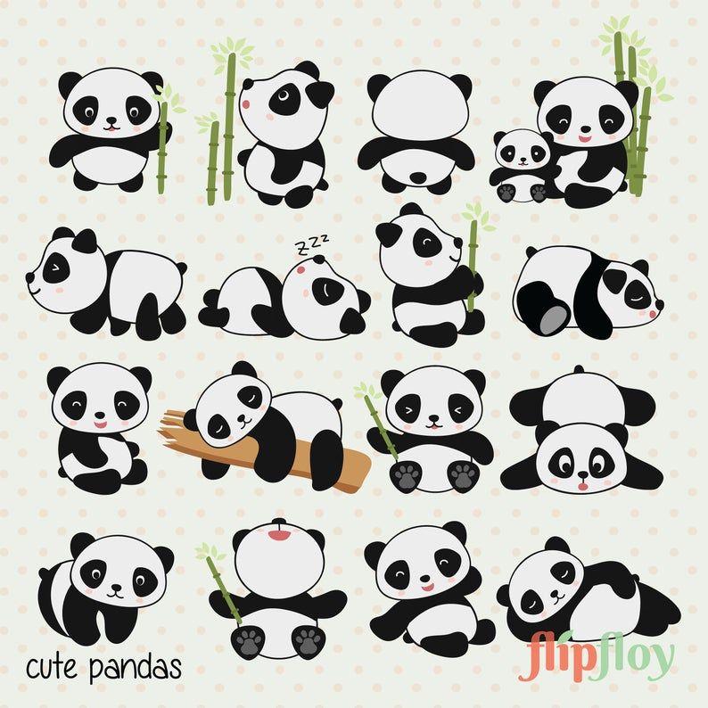 Premium Vector Clipart Cute Panda Instant Download 16 Panda Kawaii Clipart High Quality Vector Panda Digital Download Instant Download In 2021 Panda Drawing Cute Panda Drawing Panda Drawing Easy