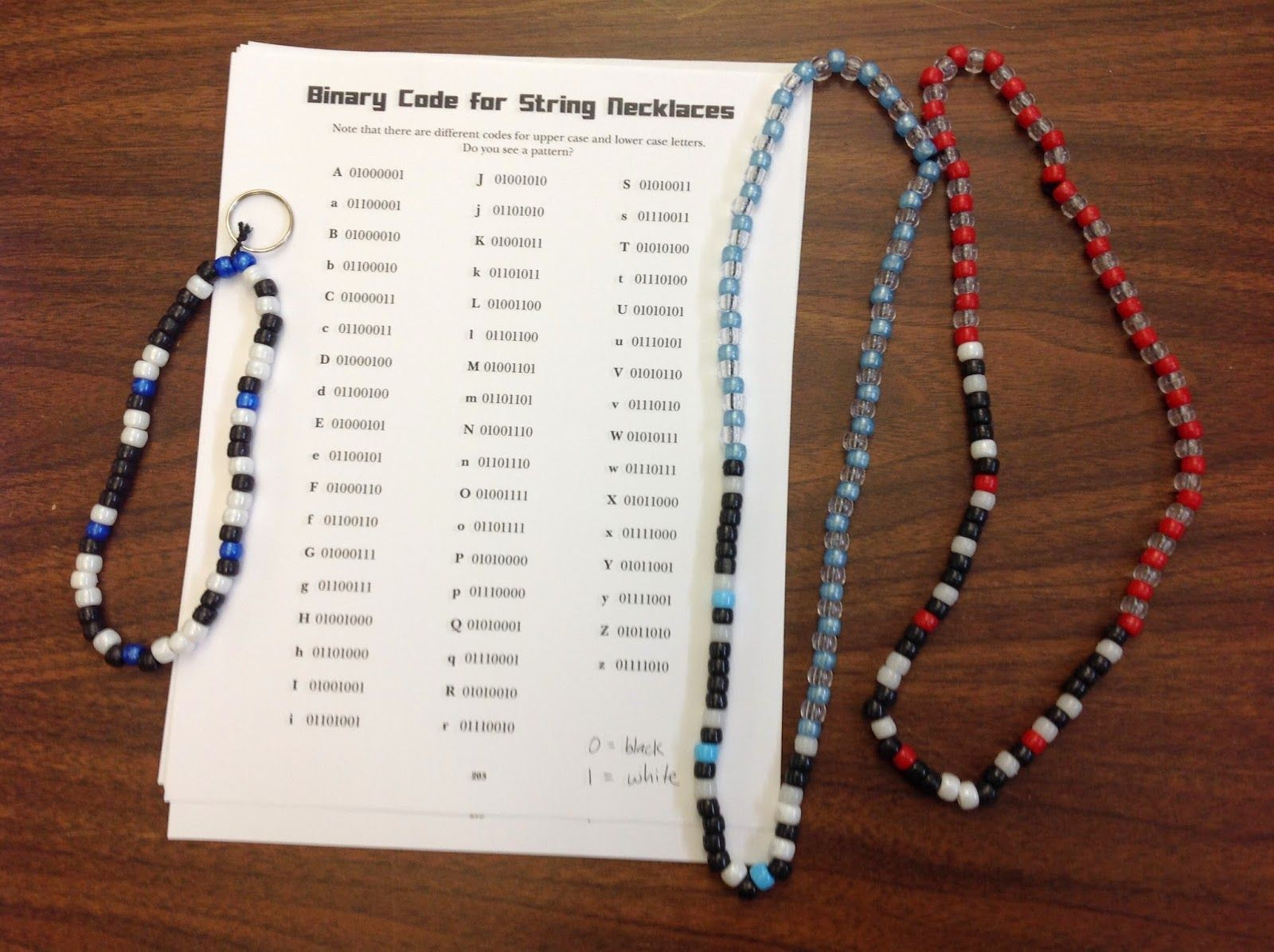 Craft Binary Code Bracelets Necklaces Keychains