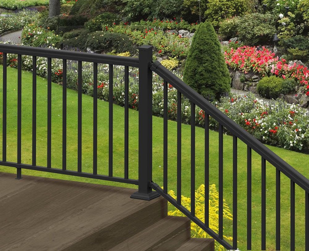 Ready To Assemble Aluminum Stair Rail Kit With Top Bottom Rail | Lowes Exterior Handrails For Steps | Concrete | Aluminum Handrail Kit | Deck Stair | Wrought Iron | Baluster