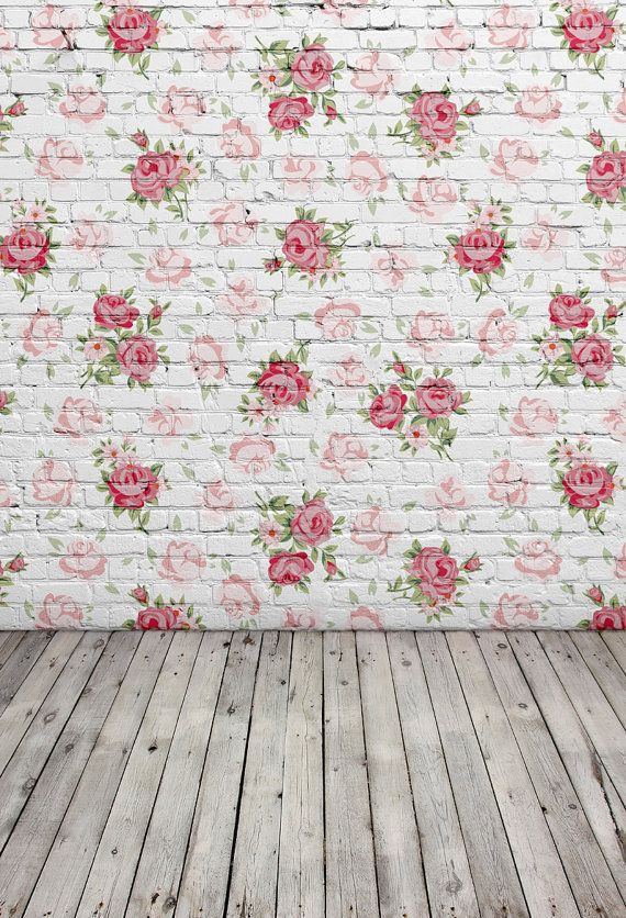 White Brick Wall With Rose Floral Photo Backdrops Floral Brick Photography Background Chil Floral Background Background For Photography Free Background Images