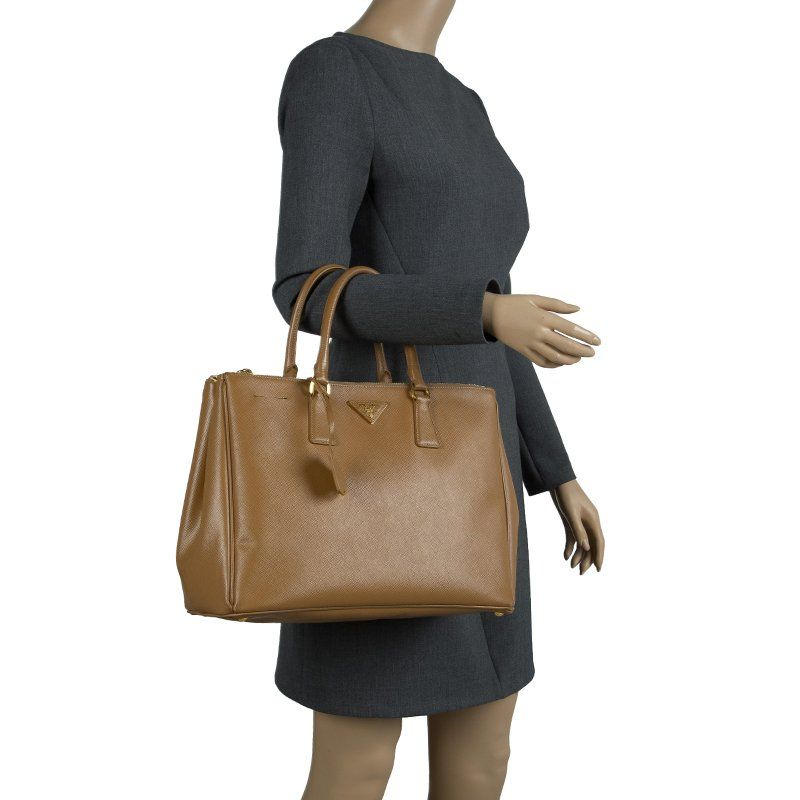 b59e7ad325c3 Mannequin shot of Prada Caramel Saffiano Lux Leather Large Double Zip Tote  on white background