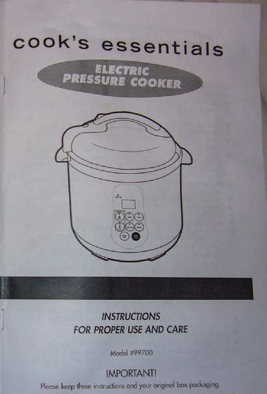 Cooks Essentials 99700 Pressure Cooker Manual