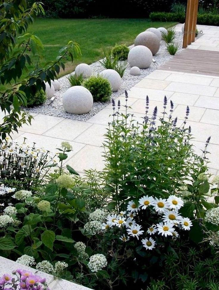 25 Cool and Beautiful Front Yard Landscaping Ideas #frontyard #frontyardlandscap #Beautifulgardenideas #modernfrontyard