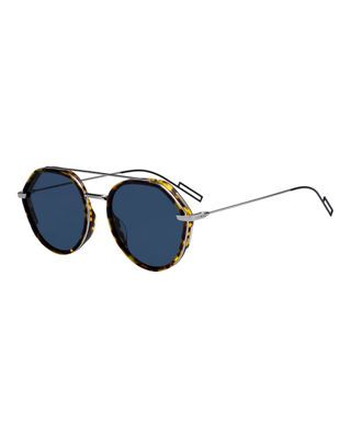 b0561382d9e4b Christian Dior Men s Round Metal Acetate Sunglasses with Double ...