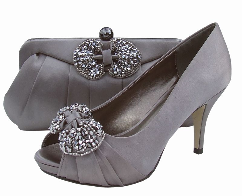 Menbur Grey Ladies Shoes Wedding Shoes Matching Shoes and Bags