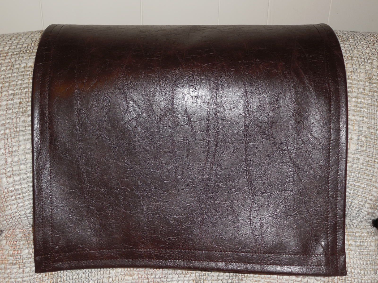 Will Recliner Headrest Cover In Chocolate Brown Fit Your Decor This Furniture Cover Is Vinyl Upholstery With Dist Furniture Protectors Vinyl Recliner Recliner