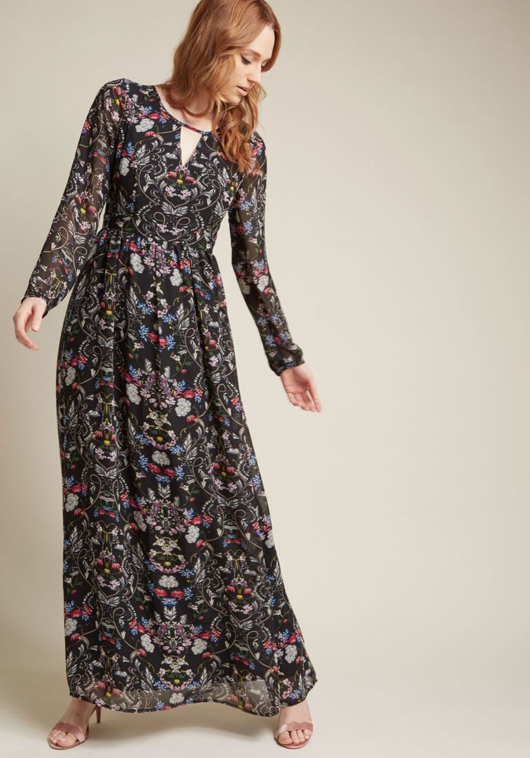 Long Sleeve Maxi Dress With Keyhole Neckline In 1x Long Sleeve Floral Maxi Dress Floral Dresses Long Vintage Dress 70s