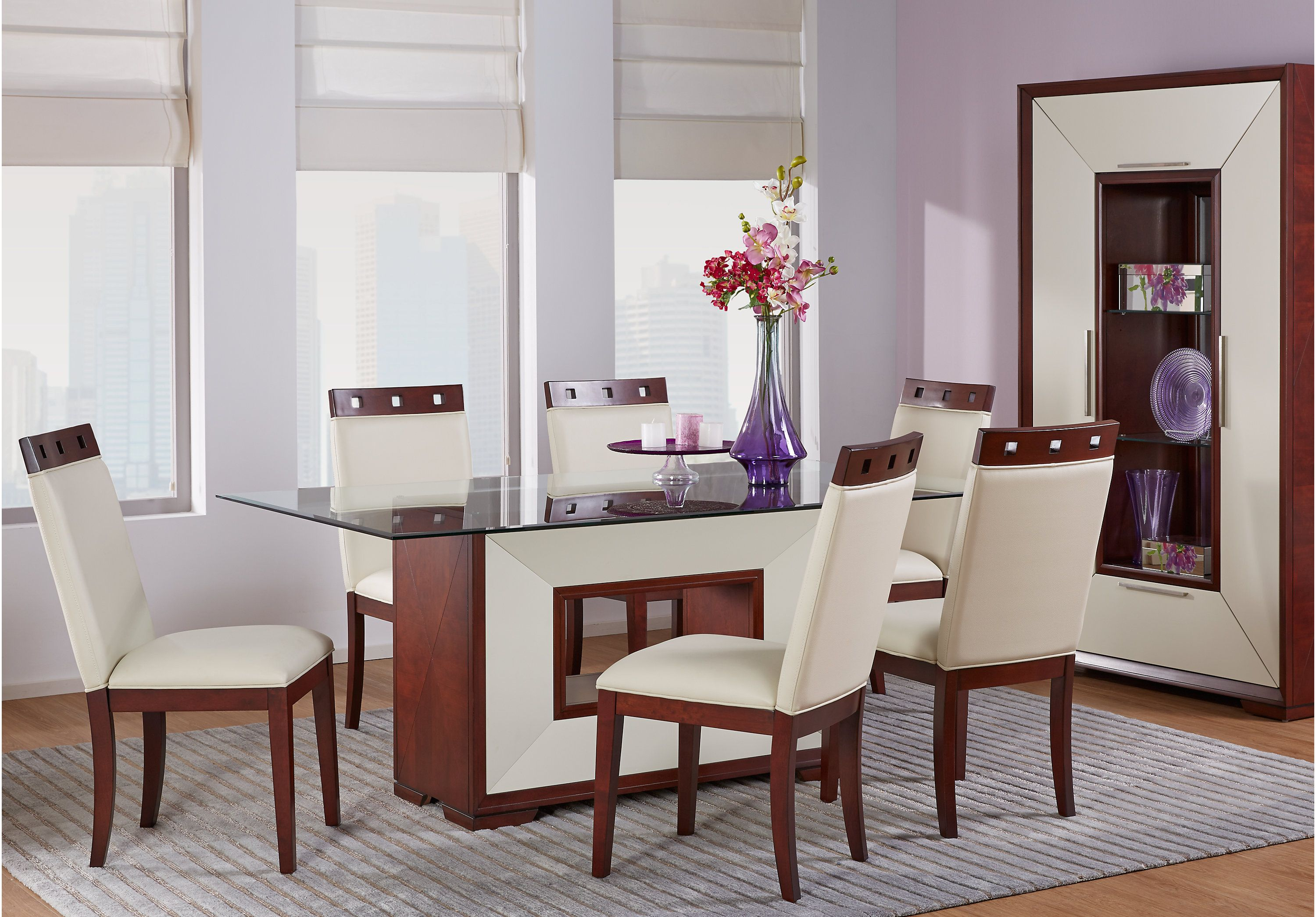 sofia vergara savona ivory 5 pc rectangle dining room with glass top dining room sets