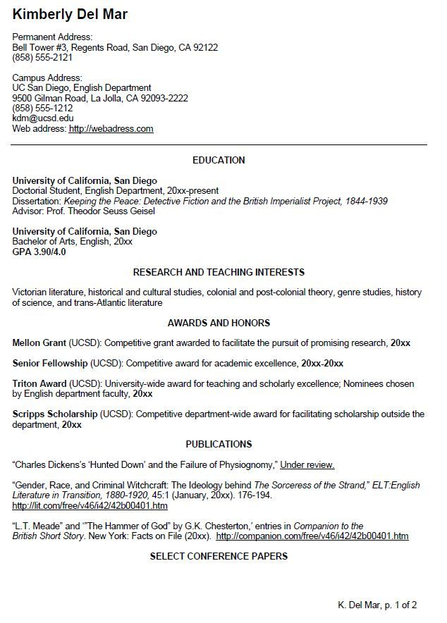 uc san diego cv example for undergraduate students visit website to view page two of - View Sample Resumes