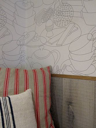 Delicieux Love This Kitchen Themed Wallpaper Featured At Melrose And Morga Shop |  Designed By Kate Mockton