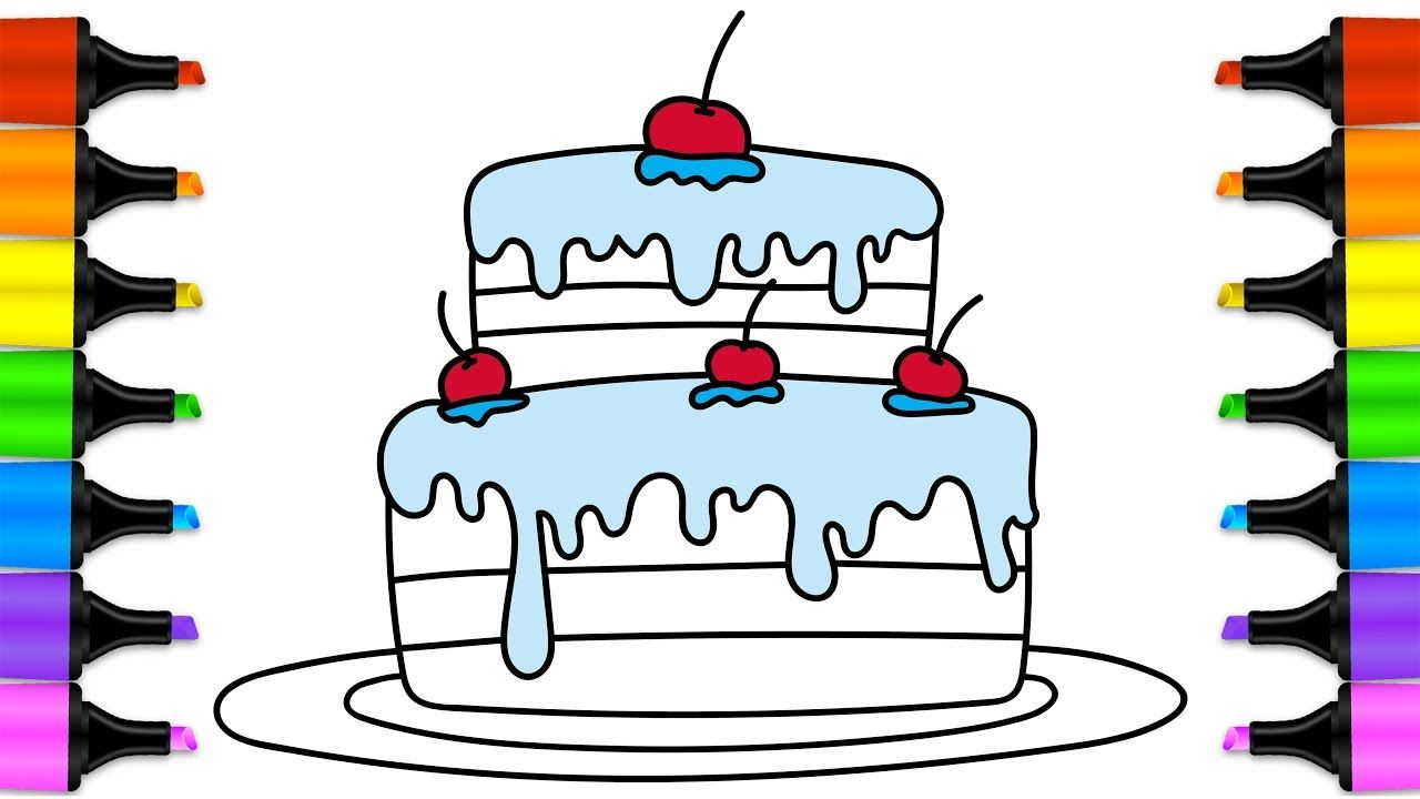 How To Draw Birthday Cake Birthday Cake Coloring Page And 7