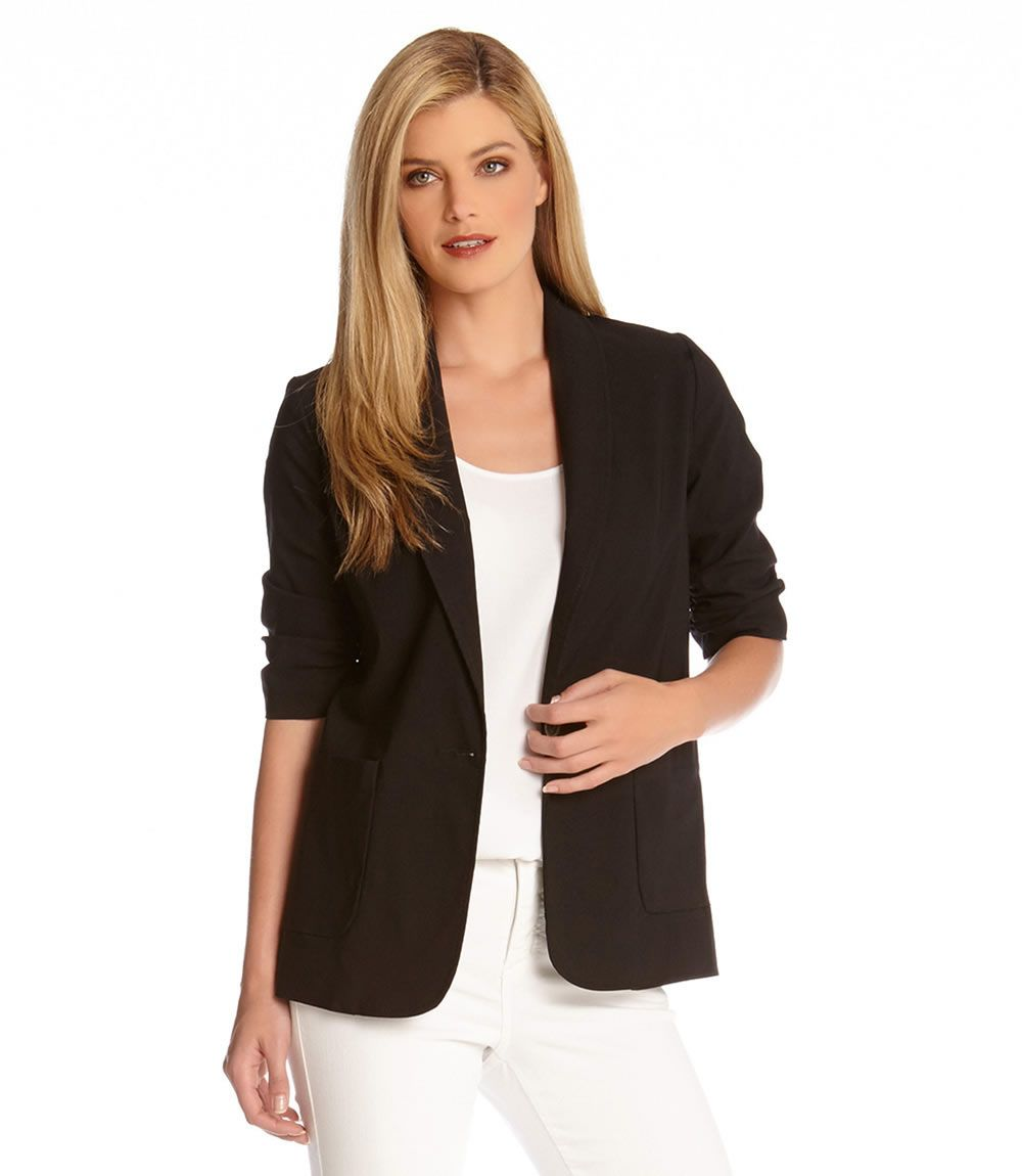 Ruched Sleeve Jacket-Black-XS
