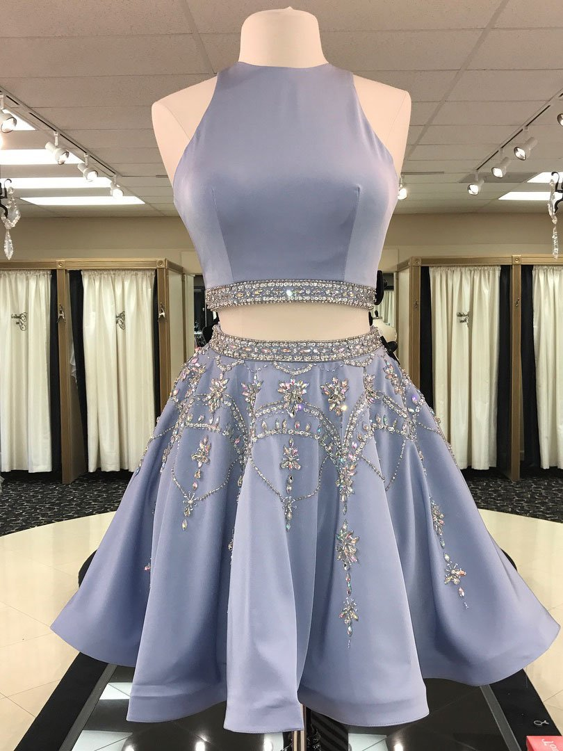 Open back grey beaded two pieces homecoming dresses cm