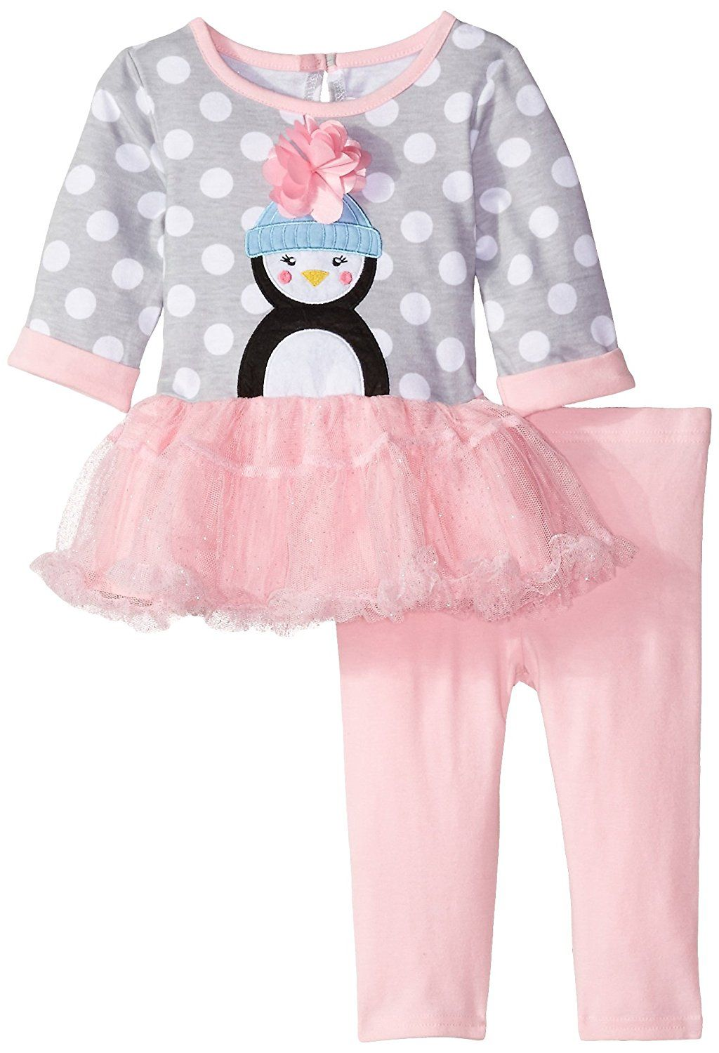 Youngland Baby Girls Penguin Applique Dress With Pink Legging