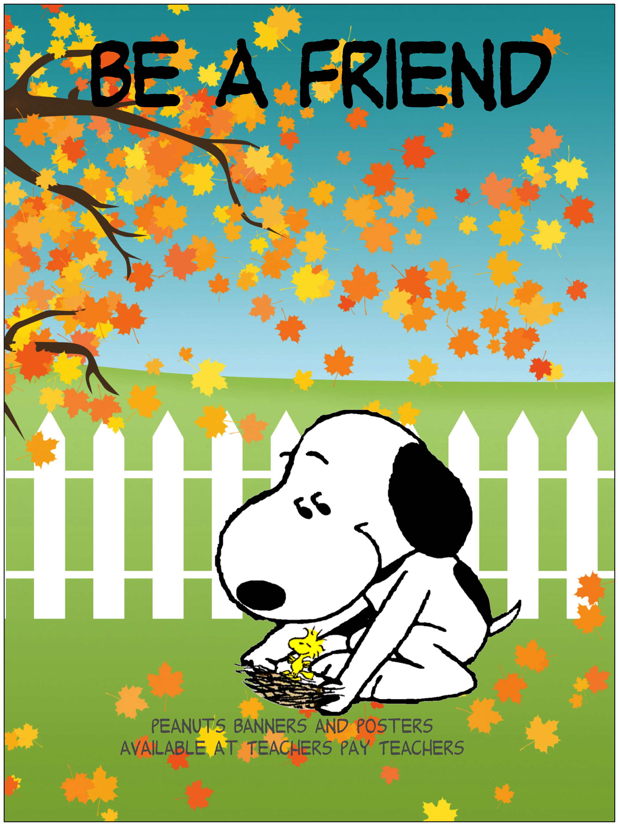 'Be Kind' Snoopy Poster for the classroom Novel studies