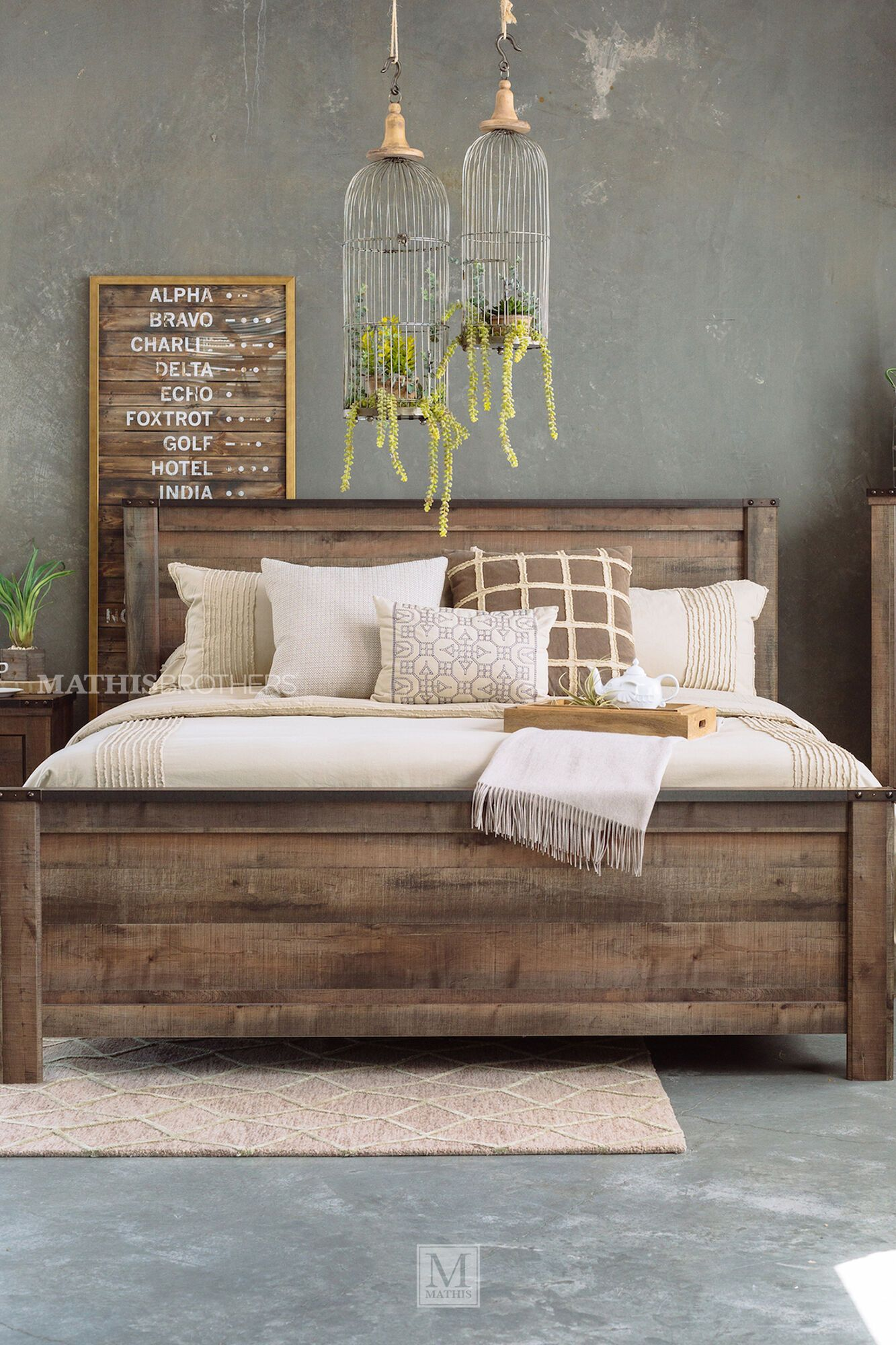Four Piece Rustic Farmhouse Bedroom Set In Brown Mathis Brothers