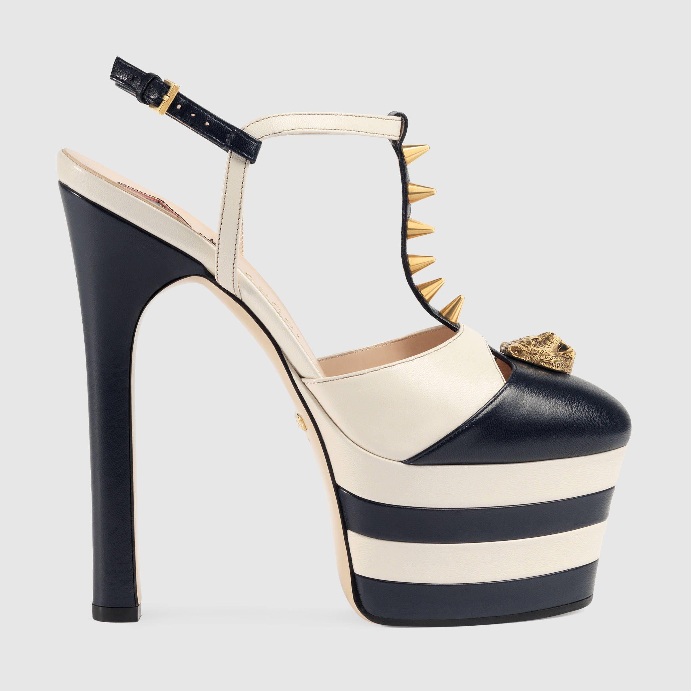 Gucci Donna - Décolleté con plateau in pelle con borchie - 421627C9D104071 2af61268c60e