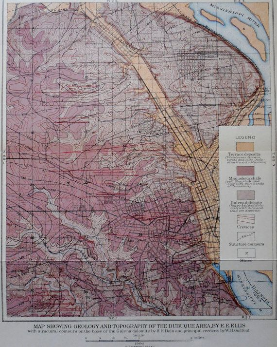 1906 Map Dubuque Iowa Area On Mississippi River Geology And