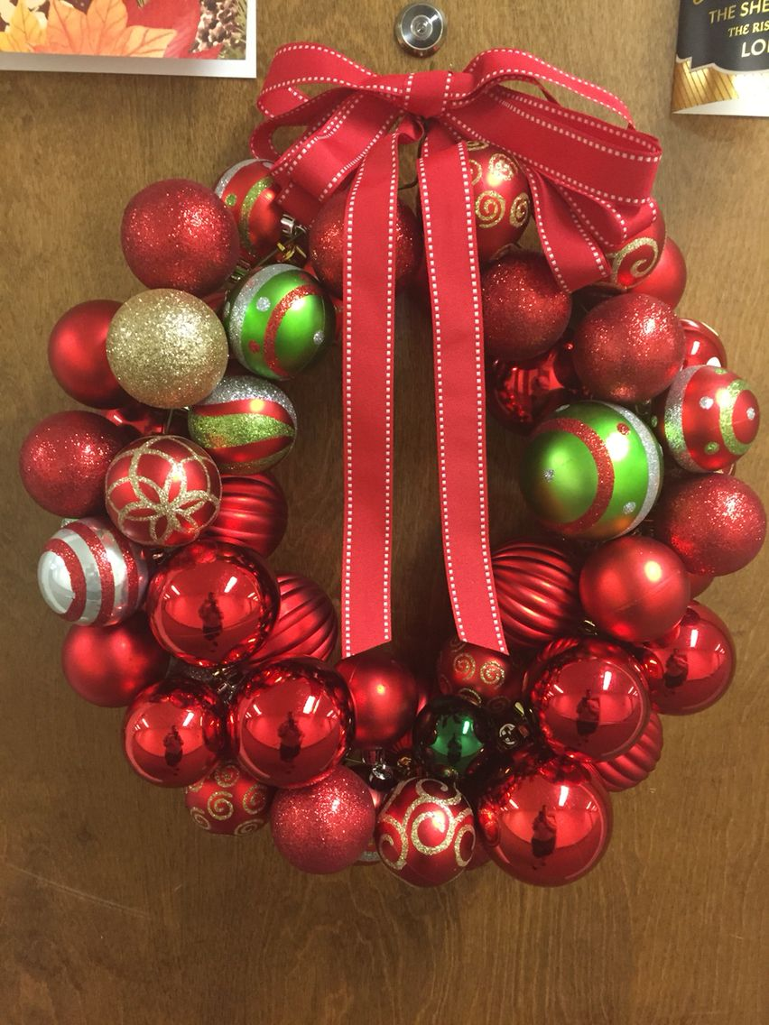Christmas Ornament Wreath made with a wire hanger and non