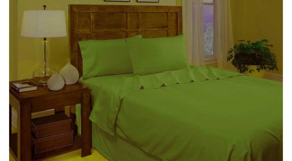 Divatex Twin Extra Long Microfiber Lime Green Bedding Sheet Set