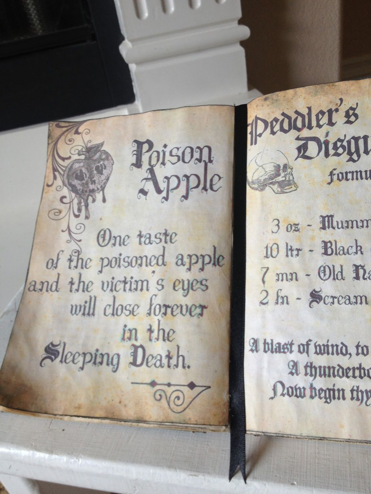 Diy Halloween Spell Book Poison Apple From Snow White S