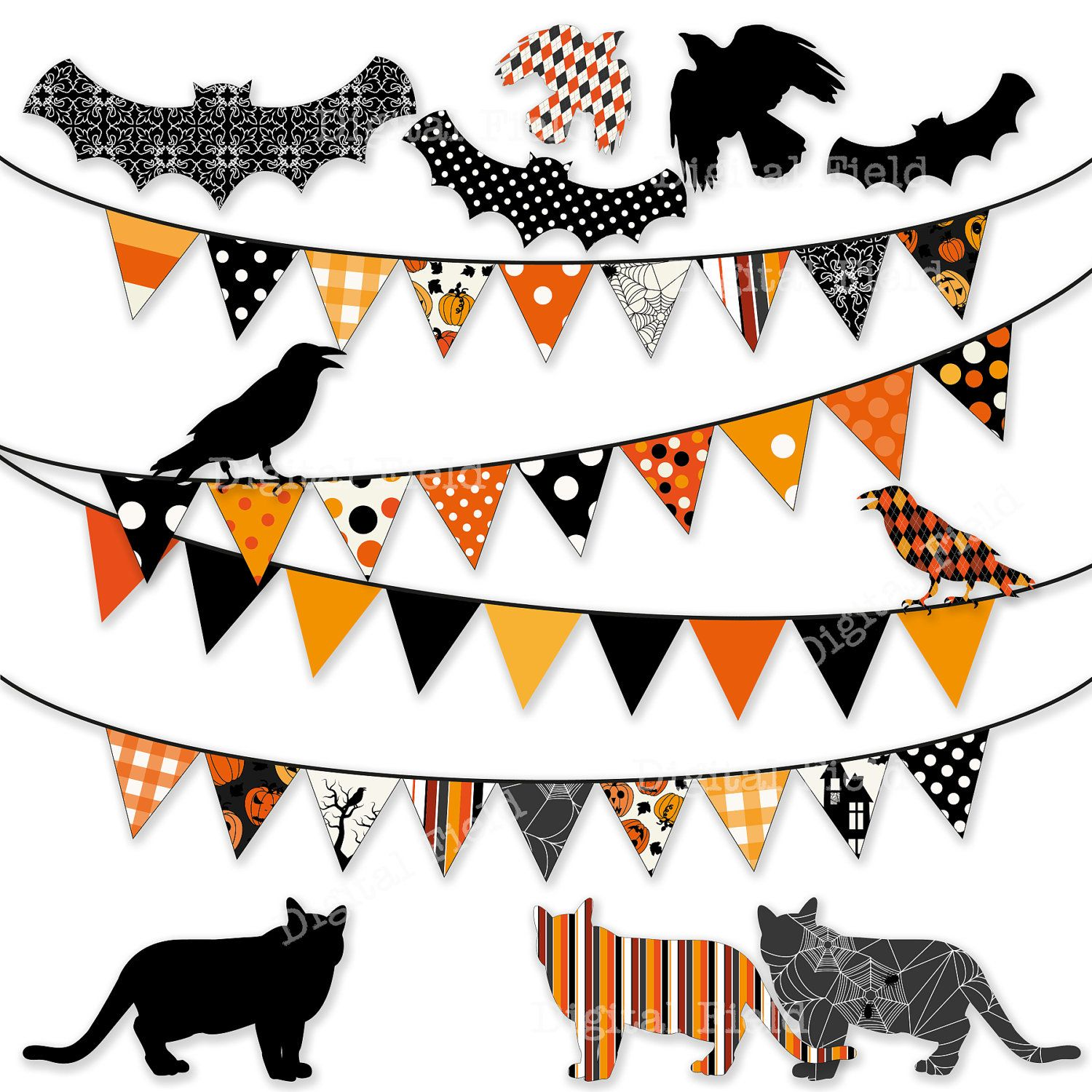 Halloween decoration clipart - Halloween Bunting Clip Art Set Digital Clipart Personal And Small Commercial Use 3 50