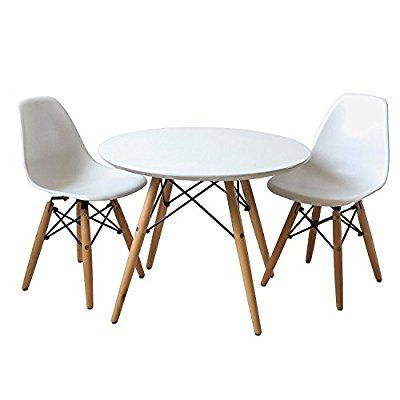 Buschman Set Of Table And 2 White Kids Eames Style Retro Modern Dining Room Mid Century Shell Cha Kids Table And Chairs Table And Chair Sets Modern Dining Room