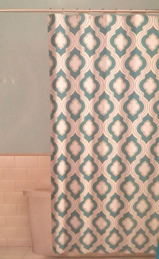 Fabric Shower Curtain Aileen Blue Green Patterned 70 X 72 Comfort