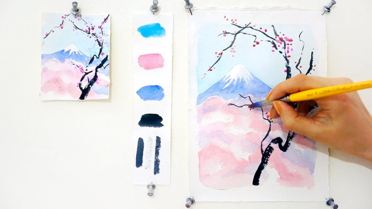 Cherry Blossom And Mount Fuji Step By Step Watercolor Tutorial