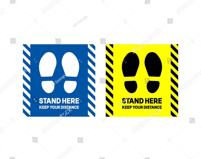 Stand Here Floor Sign Social Distancing Vector Attention Sign Sticker Stock Floor Stickers Floor Decal