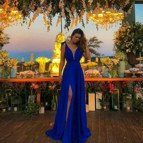 Vestido Azul Royal para Madrinhas Festa e Casamento