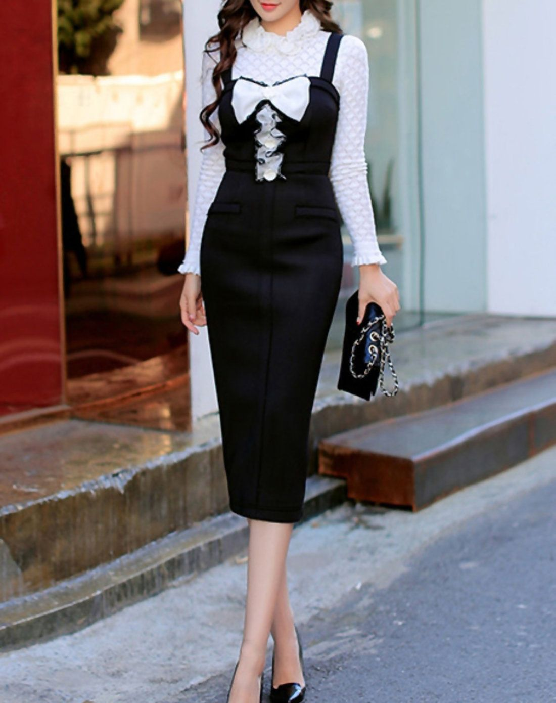 Dabuwawa Fashion Black H-line Appliqued Sleeveless Polyester Midi Dress - AdoreWe.com