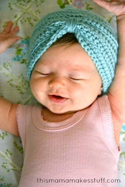 Crochet Baby Turban Pattern & Tutorial | This Mama Makes Stuff by ...