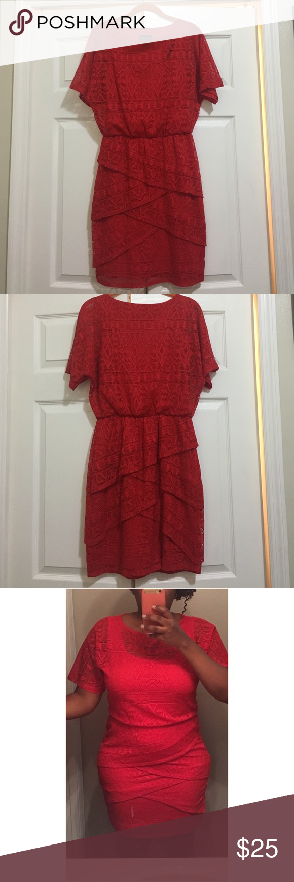 Bright red lace overlay dress Beautiful short dress with lace all over. Can be worn with flat sandals, 👠 or boots. New without tags, never worn. Reasonable offers accepted! I.N. Studio Dresses Mini