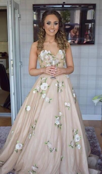 18f4dcf12475 2018 princess long prom dress, champagne long prom dress with floral  embroidery, strapless champagne long ball gown