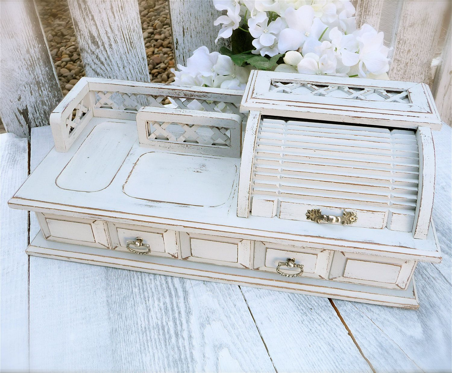 Upcycled Shabby Chic Desk Organizer Caddy By HuckleberryVntg 4200