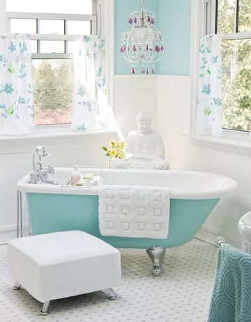 Turquoise is back in a big way!  Vintage Bathroom With Turquoise Clawfoot And Paint
