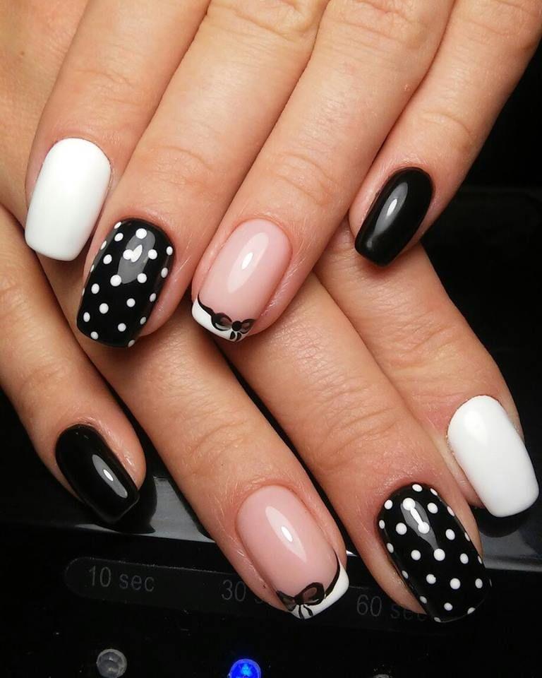 Nails Art Dots Blackwhite Ribbon Black Nails Art Design